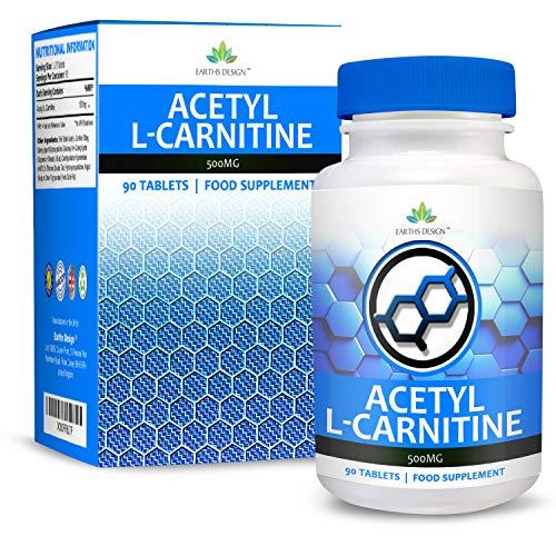 L-Carnitin - 500mg Carnitin - Acetyl L Carnitin Aminosäuren - Geeignet für Vegetarier - 90 Tabletten (3 Monate Vorrat) von Earths Design