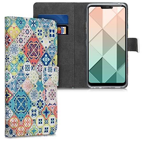 kwmobile Wallet Hülle kompatibel mit LG G7 ThinQ/Fit/One - Hülle mit Ständer Kartenfächer Marokkanische Fliesen bunt Blau Rot Hellbraun