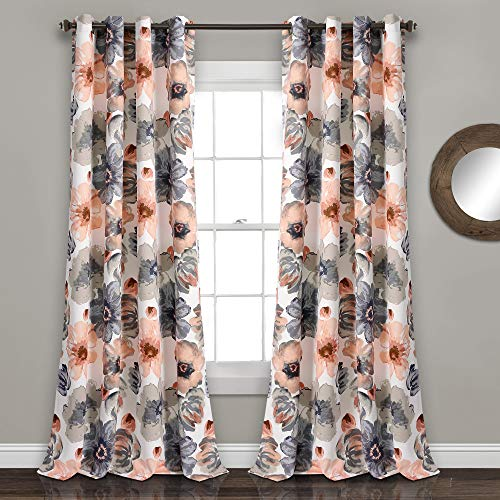 "Lush Decor Room Darkening Window Curtain Panel Pair Leah Floral Insulated Grommet, 84"" L, Coral and Gray"