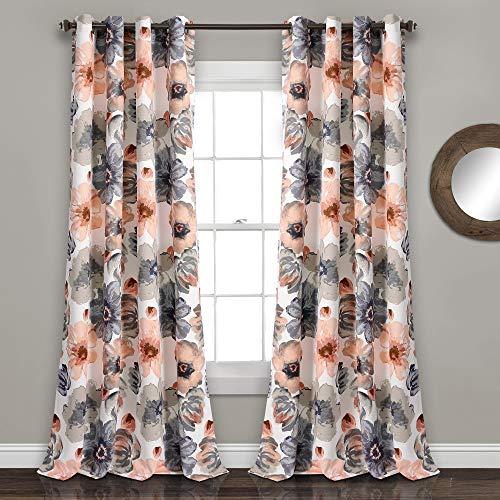 Lush Decor Lush Décor Leah Room Darkening Window Curtain Panel Set, 84 x 52, Coral/Gray