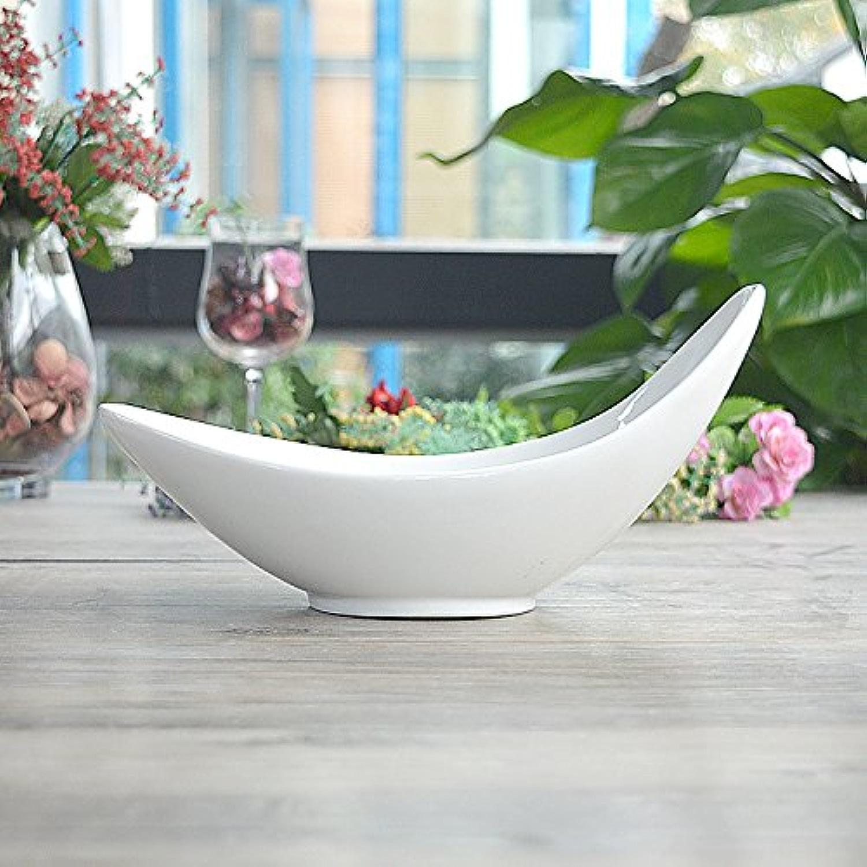 Rentzu Vaisselle En Céramique En Forme De Bateau, Bol, Bol De Salade Créative,Blanc 22-22.86
