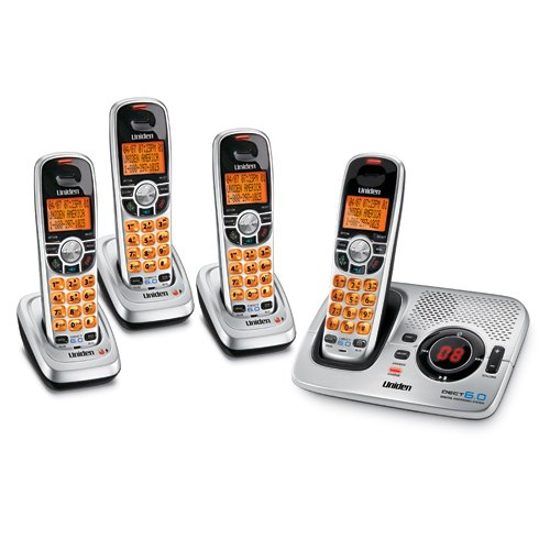 Uniden DECT 6.0 Silver Cordless Digital Answering System with Caller ID and Four Handsets (DECT1580-4)