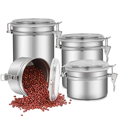 4-Piece Piece Stainless Steel Airtight Canister Set, Food Storage Container, Tea Coffee Sugar Flour Canisters, Kitchen Storage Jar Container Canister with Clear Arylic Lid and Locking Clamp