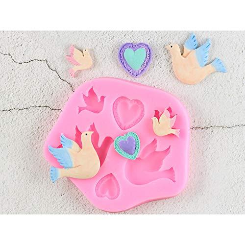 LKJHG Pigeon Birds DIY Chocolate Party Fondant Cake Decorating Tools Corazón Diamond Molde de Silicona Sugar Craft Candy Clay Moulds