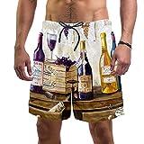 LXYDD Pantalones Cortos de Playa para Hombre Traje de baño de Surf L,Bodegón de Botellas de Vino y Uvas.