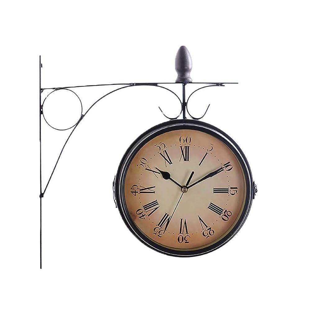 寛大さ変成器トロイの木馬金属の柱時計、カフェのためのヨーロッパのレトロの創造的な両面の円形の装飾の柱時計レストラン家族