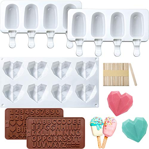 2 Pieces Popsicle Chocolate Molds 4 Cavities Ice Pop Molds, Silicone Diamond Heart Mold, 8 Cavities Heart Shaped Cake Mold, 2 Pieces Letter Number Chocolate Molds with 50 Pieces Wooden Sticks