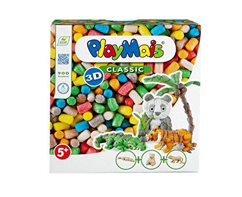 PlayMais 3D Wild Animals Bastel-Set für Kinder ab 5 Jahren   Über 900 PlayMais & 3 Tierfiguren aus Pappmaschee zum Bekleben und Basteln   Fördert Kreativität & Feinmotorik   Natürliches Spielzeug