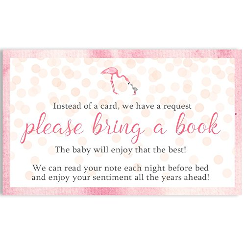 Bring A Book Cards Flamingo Baby Shower Baby's First Book Watercolor Confetti Sprinkle Let's Flamingle Library Request Keepsake Gift Idea Collection Inserts Pink Girls It's A Girl (25 Count)