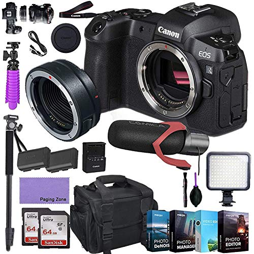Canon EOS R Mirrorless Digital Camera (Body Only) and Mount Adapter EF-EOS R kit Bundled with Deluxe Accessories Like Pro Microphone, High Speed Flash, 4-Pack Photo Editing Software and More…