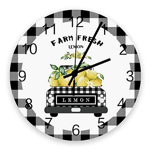 Wooden Round Wall Clock 12'' Silent Battery Operated Non Ticking Clock, Black Grey Buffalo Plaid Farm Truck Carry Fresh Lemons Noiseless Office Kitchen Bedroom Wall Clock Home Decor
