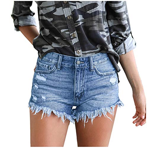 Binggong E-Girl Style Kurze Hose Jeans High Waist Distressed Flare Denim Knieloch Hosenhose Einfarbige Jeans Slim Straight Hosen Slim Fit Stretch Stylische Boyfriend Casual Hipster Streetwear