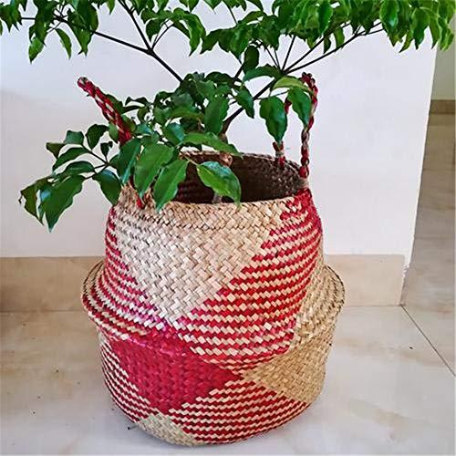 Mallalah Seagrass panier Naturel de Rangement Basket Buanderie Linge Pique nique Cache pot Organisation de stockage Domestique Paille Pliable Tissé à la Main size L (Rouge)