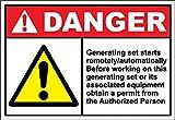 Yilooom Generating Set Starts Remote Warning - Adhesivo de Vinilo para Alerta de 7 x 10 Pulgadas