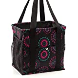 Pursetti Small Utility Tote Bag for Women with 4 Exterior Pockets - Perfect as Lunch Tote, Reusable Grocery Bags, Shopping Bags, Work Bag, Teacher Bag, and Nurse Bag (Purple Circle)