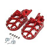 Estriberas de pie para motocicleta CR125/250R CRF150R/250/450 CRF250X CRF450RX/X CRF250L/M CRF250RALLY Kawasaki KX250F/450 KLX450R + dientes de resorte, color rojo