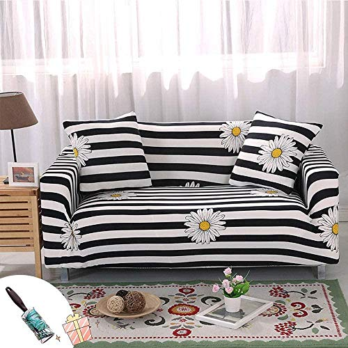 HFTYCC Funda de sofá Espesar Decoración del hogar Banco Funda de sofá Tejido elástico Antideslizante Elástico Silla Funda de sofá nórdico-1 Seater_Green-2 Seater_Black and White