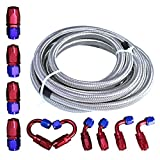 Universal Oil Fuel Line Hose 20Ft AN-6 Stainless Steel Braided w/10PC Swivel Fitting Hose ...