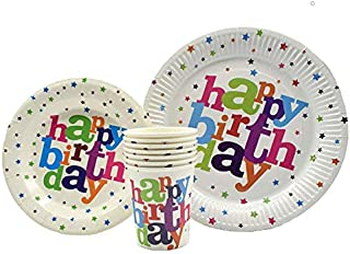 Happy Birthday Plates & Napkins Set for 20 People-Sturdy Birthday Party Supplies Pack with Large Paper Plates, Small Plates, Cups, Napkins, Straws Best for Girls & Boys (A-Happy Birthday)