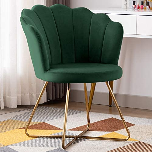 Duhome Velvet Fabric Accent Chair with Golden Metal Legs Leisure Vanity Chair Makeup Chair Guest Chair Tufted Desk Chair Reception Chair for Desk for Living Room Grey