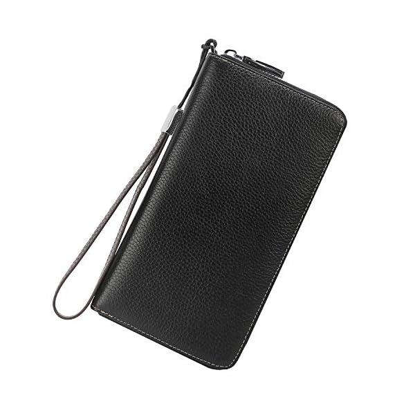 Lavemi Women's RFID Blocking Leather Zip Around Wallet Large Phone Holder Clutch Travel Purse Wristlet 2