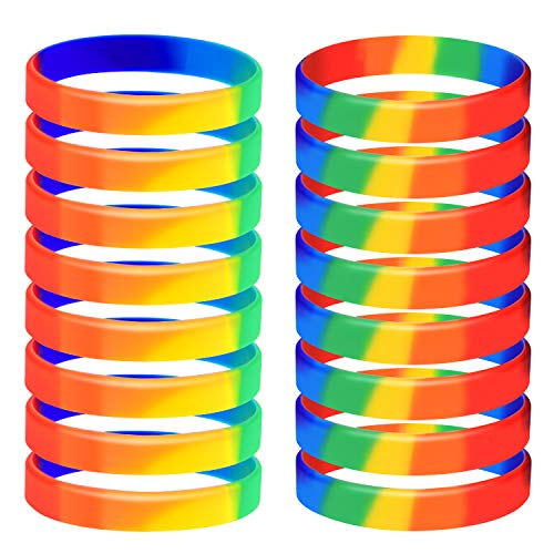 TUPARKA 20pcs Gay Pride Wristbands LGBT Lesbian Rainbow Wristbands Silicone Sports Rubber Bracelets (6 Colors)