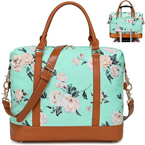 CAMTOP Beach Travel Tote Duffle Overnight Weekender Beach Bag Women Ladies Carry on Beach Tote with Trolley Sleeve (Flower A-Mint Green)