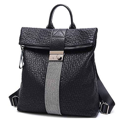 LifeUp Damenrucksack mit Diamant große Kapazität Umhängetaschen Taschen zurück getragen Modus Leder Schulrucksack für Reisen, Wandern, Arbeiten und Verabredungen
