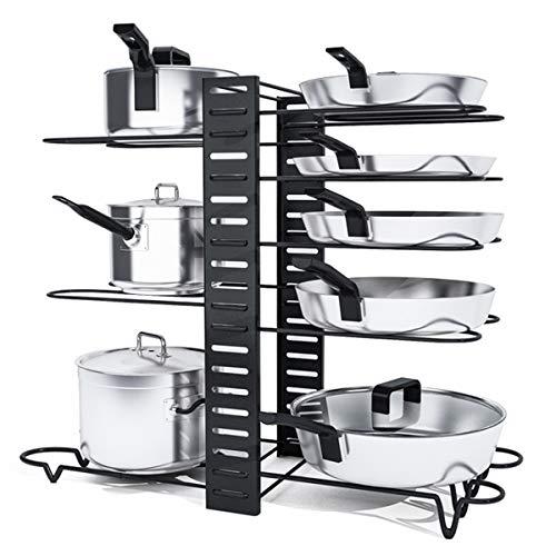 Charmdi - Organizador de ollas, organizador ajustable para ollas, con 3 métodos de bricolaje, 8 niveles, organizador de sartenes para armarios de cocina, platos, mostrador, armario, color negro