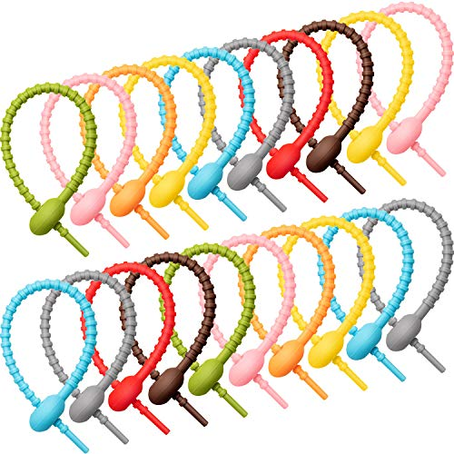 20 Pieces Colorful Silicone Ties Bag Clip,Cable Straps, Bread Tie, Reusable Rubber Twist Tie, All-Purpose Silicone Ties, Cable Ties,Silicone Cord,Household Snake Ties, Bag Sealing Clips