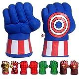 FAIRZOO America Cap Superheros Gauntlet Smash Hands Fists Big Soft Plush Kid Boxing Training Gloves Pair Halloween Costume