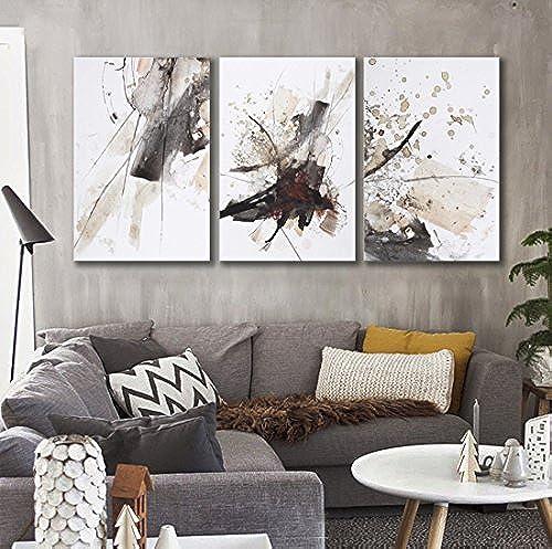 ZZZSYZXL Moderne abstrakte Wand-Dekor-Gem e auf Leinwand 40  6cm 3pcs Gestreckt und gerahmt fertig zum Aufh en , b , 50x70