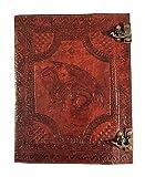 Kooly Zen – Cuaderno de diario, libro, bloc de notas, cuaderno de dibujo, scrapbook, piel auténtica, dragón medieval celta, doble cierre, 25 x 33 cm, 240 páginas, papel premium