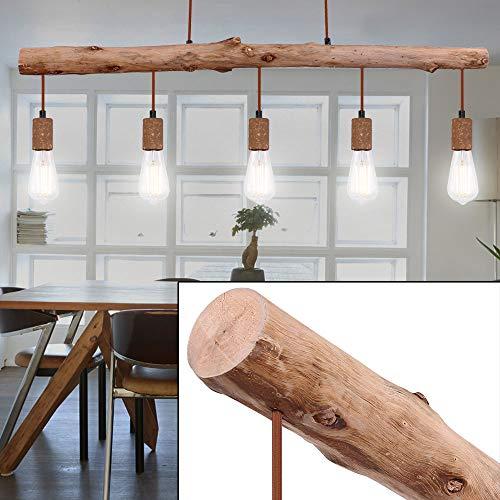 Vintage Decken Pendel Hänge Lampe Natur Holz-Design Leuchte Beleuchtung 5-Flammig