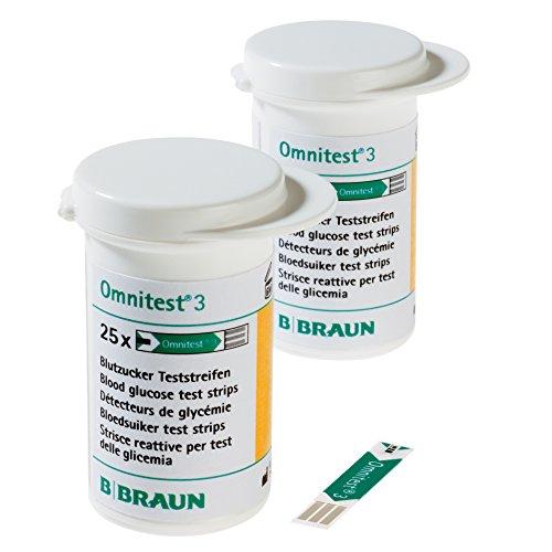 B. Braun Omnitest 3 Blutzucker Teststreifen Sensoren 50 Stück