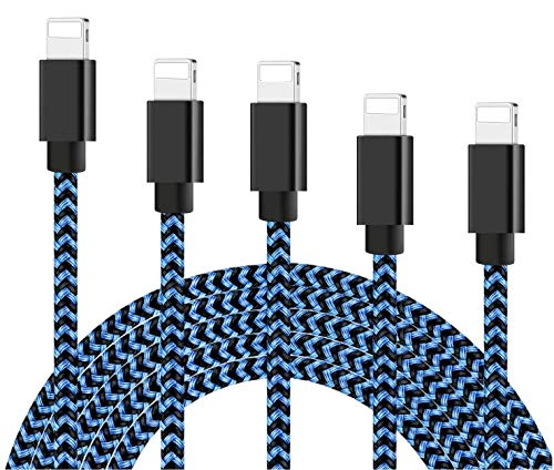 MFi Certified Cables 5 Pack 3.3/3.3/6.6/6.6/10 ft Nylon Braided USB Charging & Syncing Cord Compatible withiPhone Charger 12 Pro Max 11 Pro Xr Xs Max 10 8 Plus 7 6 6s 5c,SE,Pad Chargers