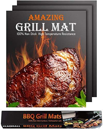 Felly Tapis de Cuisson Barbecue Set de 3 Teflon Anti-adhérent Feuille de Barbecue 40 × 50cm pour BBQ Gril Gaz Charbon électrique