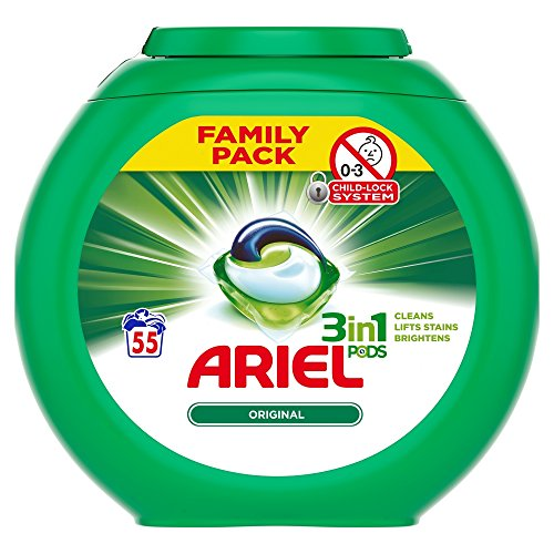 Ariel 3 in 1 Original Washing Pods, 55 Capsules