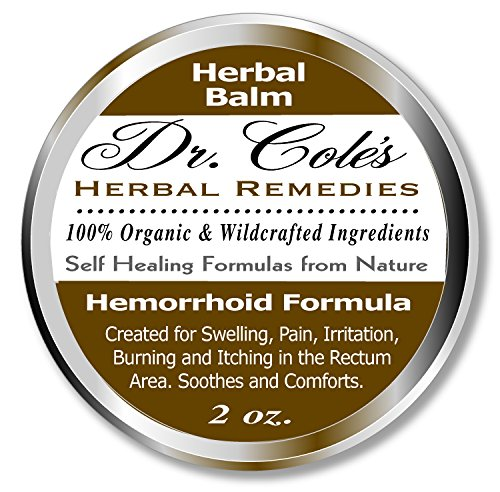 Dr. Cole's Hemorrhoid Treatment. Organic Herbal Ointment for Hemorrhoid Relief. Natural Remedy for all types of Internal and External, Hemorrhoids. Soothes Itching, Swelling & Pain. Safe for all ages.