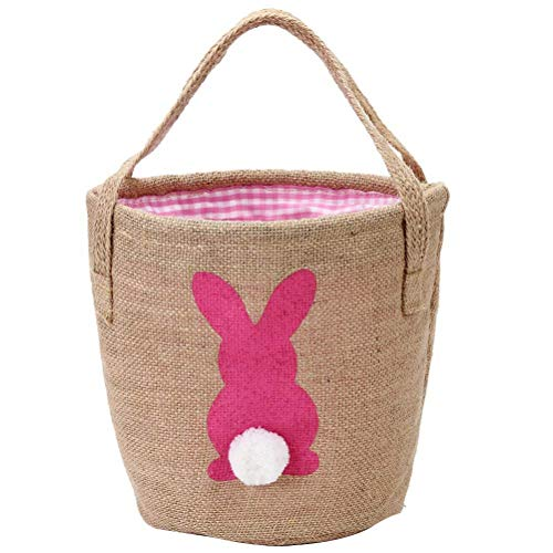 FSDELIV Cesta para huevos de Pascua para niños, dulces, huevos, conejos, con asas, cubo de huevos con cola esponjosa, juguete de almacenamiento