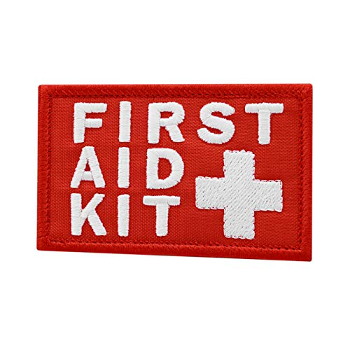 2AFTER1 First Aid Kit 2x3.25 White/Red IFAK Medic MED Trauma Paramedic Morale Hook-and-Loop Patch