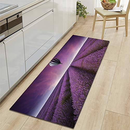 JLCP 3D-Küchenteppich Runner, Lila Lavendel Bad Fußmatten Anti-Rutsch Nach Hause Bodenmatte Weich Waschbar Teppich Für Flur/Sofa/Eingang/Wohnzimmer,3,60x90cm