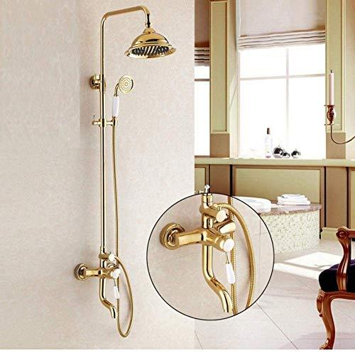 Luxe Gold messing badkuipkraan douchekop douchekop ronde stang wandmontage armatuur