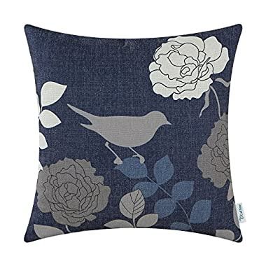 CaliTime Canvas Throw Pillow Cover Case for Couch Sofa Home Decor Floral Cartoon Shadow Bird Silhouette 18 X 18 Inches Navy Ground Grey Bird