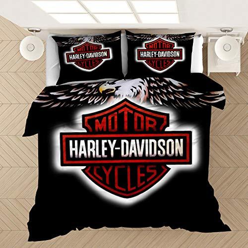 YMYGYR 3D-Druck Harley Bettwäsche mit Musterdruck, Bettbezug und Kissenbezug, weiche und Bequeme Druckbettwäsche für alle Arten von Menschen-B_200 x 200 cm (3 Stück)