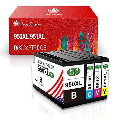 Toner Kingdom Kompatibel Druckerpatronen 950XL 951XL für HP Officejet Pro 8600 8610 8620 8100 8630 8640 8860 8660 8625 8615 251dw 276dw, Tintenpatrone Multipack, 1 Schwarz 1 Cyan 1 Magenta und 1 Gelb