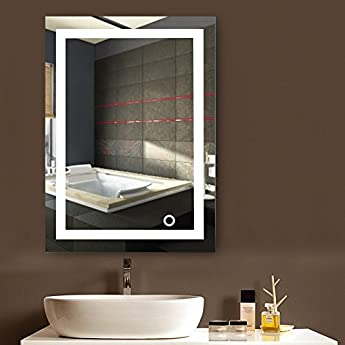 Foto di POPSPARK Specchio per Il Trucco a Parete con Specchio a Parete LED per Bagno a LED Nuovo Pulsante (50 x 70 cm, Bianco Freddo)