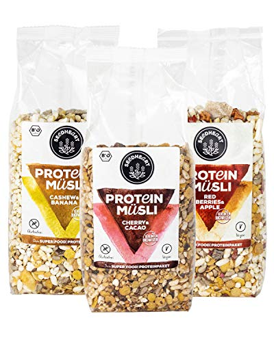 PROTEIN MÜSLI MIX Cashew & Banana, Cherry & Cacao, Red Berries & Apple 900g (3 Packungen) | Proteinreiches, glutenfreies Bio-Müsli mit gekeimtem Buchweizen, ohne Zuckerzusatz! 💪💚