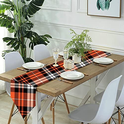Reebos Camino de mesa de lino, bufandas para aparador, calabaza, otoño, naranja, camino de mesa de cocina, para cenas de granja, fiestas de vacaciones, bodas, eventos, decoración, 33 x 70 pulgadas