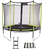 Kangui - Trampoline de jardin 305 cm + filet de sécurité + échelle + kit d'ancrage JUMPI Vert/Noir 300
